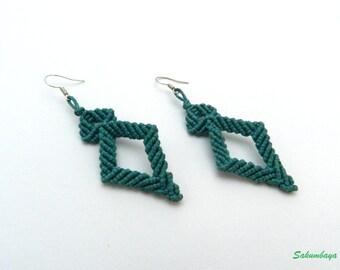 Earrings ,macrame, diamond, blue, green