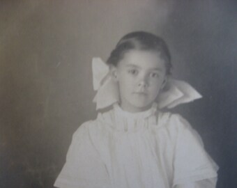 Antique Postcard, Photograph,Photo Care,Vintage Ephemera,Vintage Postcard,Young Girl with Flowers, Black, Sepia,White, Antique Ephemera