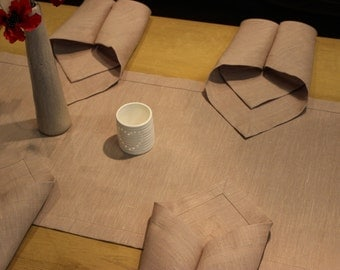 Pure linen table runner an 6 napkins