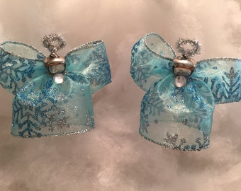 Set of Two, Light Blue Snowflake, Angel Christmas Tree Decoration, Angel Ornament, Ribbon Angel Ornament, Christmas Decoration