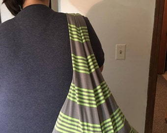 Green and Gray Striped Shoulder Bag