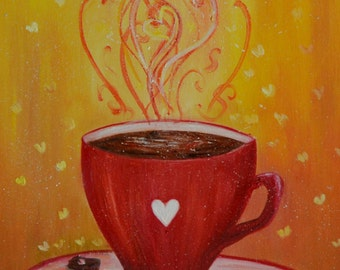 Original Modern Art Kitchen Oil Painting Set of 3 Gift for her Cute *Coffee Love*