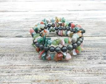 Memory Wire, Wrap Bracelet, and Natural Stones Bracelet