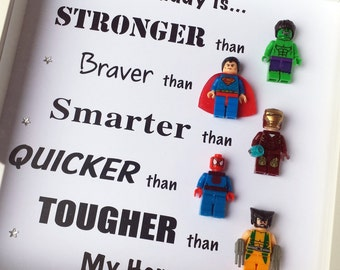 Personalised Superhero frame, great fathers day gift