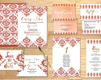 Pack imprimable faire-part mariage Baroque Corail - Pack printable wedding invitation Baroque coral