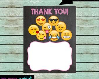 Printable Emoji Emojis Birthday Thank You Note Cards - DIY - Digital File - Instant Download