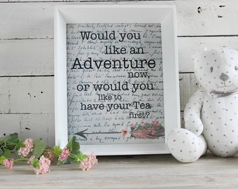 Adventure Print, Printable Art, Nursery Printables, Printable Quotes for Wall, Digital Download Art, Baby Girl Wall Art, Instant Download