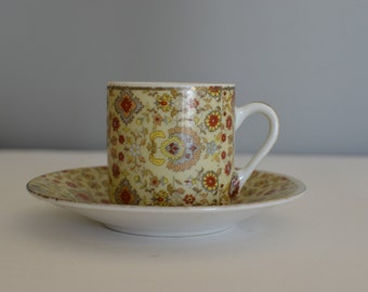 Small vintage cup, small cup Espresso cup, greek coffee cup,  porcelain cup with gold trim, retro cup home ware, floral cup homeware
