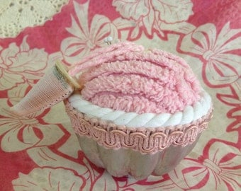 CHENILLE JELLO PINCUSHION, Repurposed Vintage Jello Mold,Vintage Linen Pincushion,Sewing Supplies,Gift Under 20,Pink n White Cord Pincushion