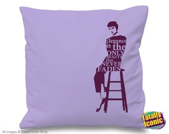 """Audrey Hepburn - Iconic Character Pillow Cushion Cover - with quote - """"Elegance is the only Beauty that Never Fades"""" - Great Xmas Gift Idea"""