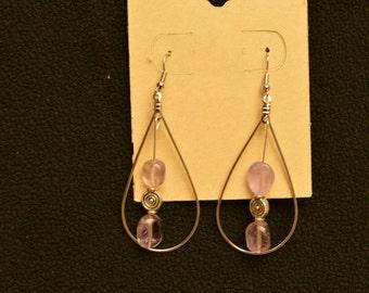 Natural Amethyst tear drop earrings