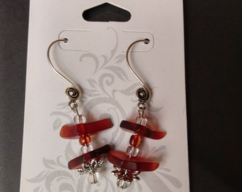 Red glass and beaded dangle earrings