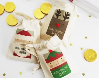 Christmas Santa, Elf And Rudolph Personalised Gift Bags