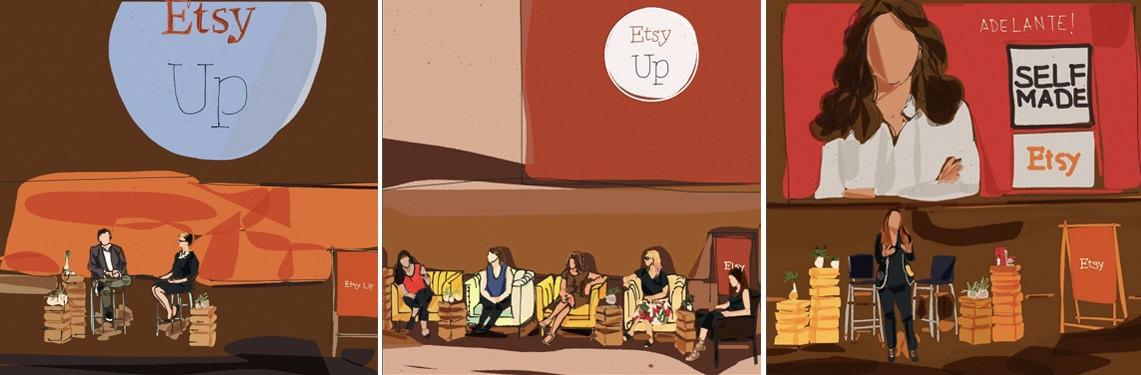 Etsy Up conference sketches by Carolina Ramirez of Macaro Studio