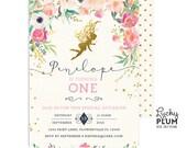Fairy Birthday Invitation / Fairy Invitation / Flower Invite / Woodland Invite / First Birthday Invite / Pixie Invite / Elves Invite LPS0001