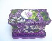 Wedding ring box with small mirror and satin flower,decorative storage,  purple/white hyacinth fabric design, beaded, jewelry box