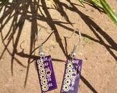 Purple circuit board earrings FREE SHIPPING