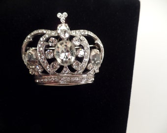 1950's Rhinestone Crown Brooch Signed Kramer Sterling