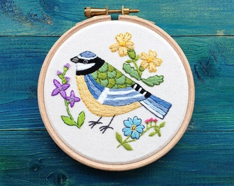Hand Embroidery Art Framed in a Hoop, Blue Tit Bird, Original Embroidery Art