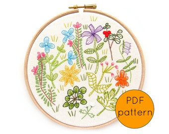 Wildflower Embroidery Pattern, PDF Instant Download, Hand Embroidery Hoop Art Pattern