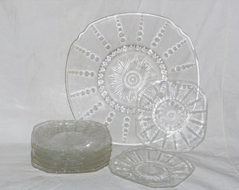 Birthday Set Federal Glass Columbia Pattern Birthday Cake Transparent Vintage Hostess Bubble Party Tray Kitchen Ware
