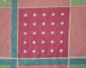 Vintage Cotton Fabric Scraps - Pink, Turquoise, Green and White Polka Dot Plaid