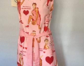 Big Chef Apron--Pink Sports Love Guys