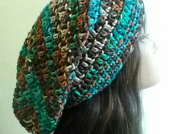 Slouchy Hat - Brown and Turquoise - Crochet Slouchy Beanie - Vintage Inspired Hat - Warm Hat - Crochet Hat - Multicolor Hat - Ready to Ship