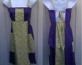 Vintage 70s Patchwork Tie Back Halter Bib Dress / Purple and Yellow Calico Hippie Boho Sundress / Size Sml - xs