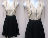 60s Vintage Secretary Dress w/ Pleat Skirt and Fitted Shell Bodice / Mod Day Dress / Sz Sml - 34 35 Bust