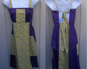 Vintage 70s Patchwork Tie Back Halter Bib Dress / Purple and Yellow Calico Hippie Boho Sundress / Size Sml - xs