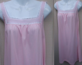 Vintage Pink Nylon Tricot Nightgown by Lorraine with Square neckline / Long Babydoll Nightie / Sz med - lge