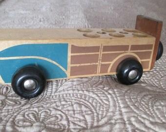 Vintage 1960s Wooden Toy  Fire Truck Bus Van Vehicle