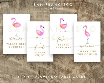 Flamingo Party Decor - Bridal Shower, Baby Shower, or Birthday Table Signs | 4x6 Signs - 4 designs  - Printable PDF files - INSTANT DOWNLOAD
