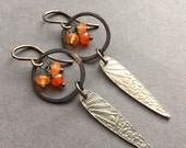 Morning Rays, Carnelian, Fine Silver, Oxidized Copper, Oxidized Sterling Silver Gemstone Hoop Earrings, erinelizabeth
