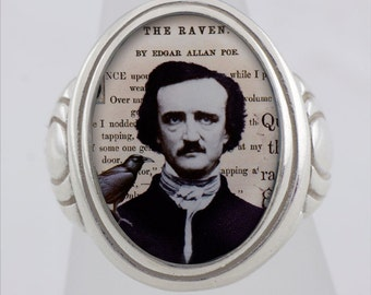 Edgar A. Poe and The Raven Sterling Silver or Bronze ring (Sizes 5-14 w/ half sizes)
