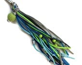Tassel Keychain//Boho Long Fringe Tassel Key Chain Accessory//Green Blue Silver with Crochet Bead//Unique Key Fob Faux Leather Boho (KC37)