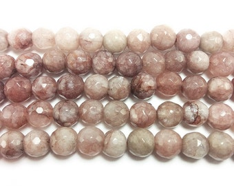 Khaki Brown Jade Faceted Gemstone Beads