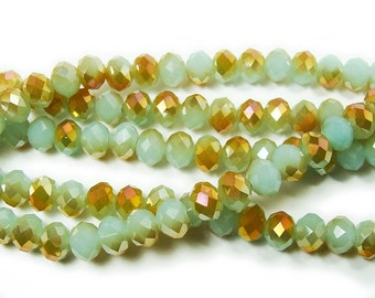 Mint Green Glass Faceted Rondelle w/Gold AB Finish Beads