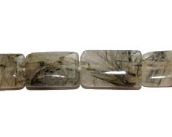 Rutilated Quartz Rectangle Gemstone Beads