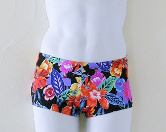 Mens Low Rise Square Cut Swimsuit in Honolulu Floral Print in S.M.L.XL