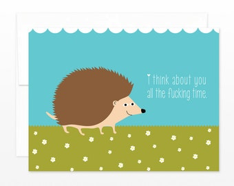 Funny Swearing Hedgehog - Love, Anniversary, Valentine Card -  I Think About You All The Fu%king Time