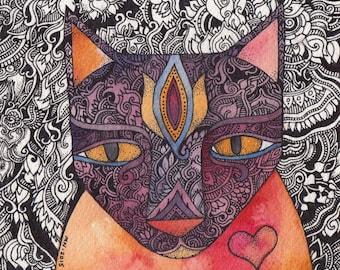 Brilliant the Cat Original Watercolor by Megan Noel