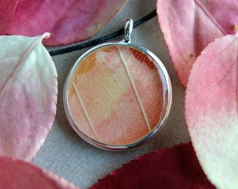 Leaf necklace, nature jewelry, peach leaves