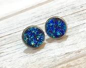 Blue Druzy Studs, Blue Druzy Stud Earrings, Blue Stud Earrings, Bumpy Studs, Glitter Stud Earrings, BlueDruzy in Silver Setting