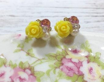 Bridal Flower Stud Earrings, Bead Cluster Stud Earring, Tiny Yellow Flower Studs, Rhinestone Flower Studs, Fancy Floral Stud, KreatedbyKelly