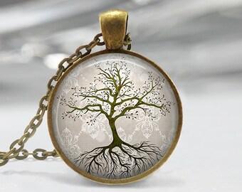 Tree with Roots Pendant, Tree Art Pendant, Tree Necklace, Tree Pendant, Bronze, Silver, Tree Art Jewelry, Tree Art Necklace 014