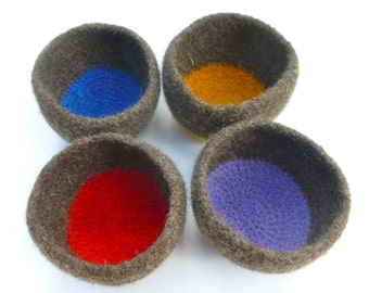 Felted wool bowls felted wool vessels set of four ready to ship