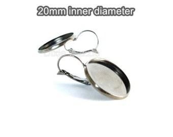 40 gunmetal leverback earrings blanks, 20mm bezel, earring bezel.