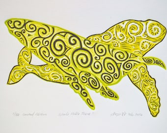 Original Print, Hand pulled Print, Linocut Print, Relief Print, Limited Edition, Wood cut print, Patterns, Whale Hello There!